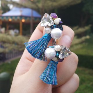 Hand-beaded Cotton pearls Jewelry with Royal Blue Tassel Earrings/Ear-clips