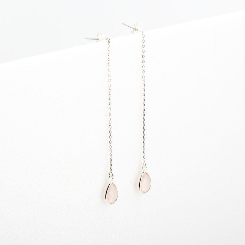 Rose Quartz Crystal Raindrop earrings Valentine's Day gift