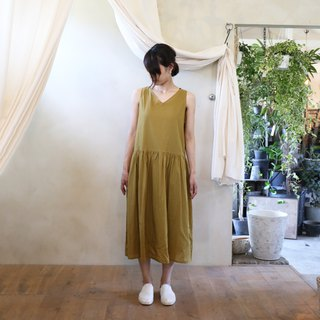 Loose cloth cotton 2 way One-piece dress · mustard
