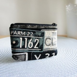 Lovely square coin purse, multi-purpose small bag, retro license plate black (pattern random shipment)