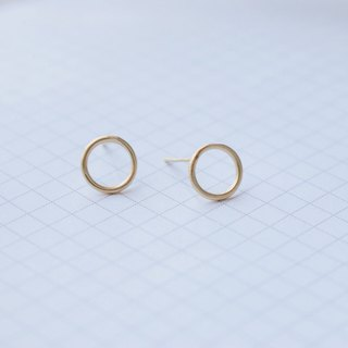 Brass earrings 0961 - draw a circle for