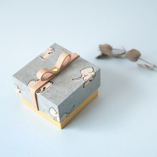 Small gift box with elephant and leather ribbon