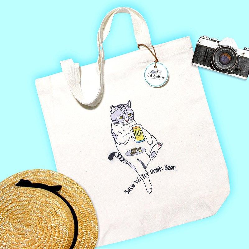 貓喝啤酒手提袋,帆布手提袋,帆布袋,沙灘袋,貓手提袋