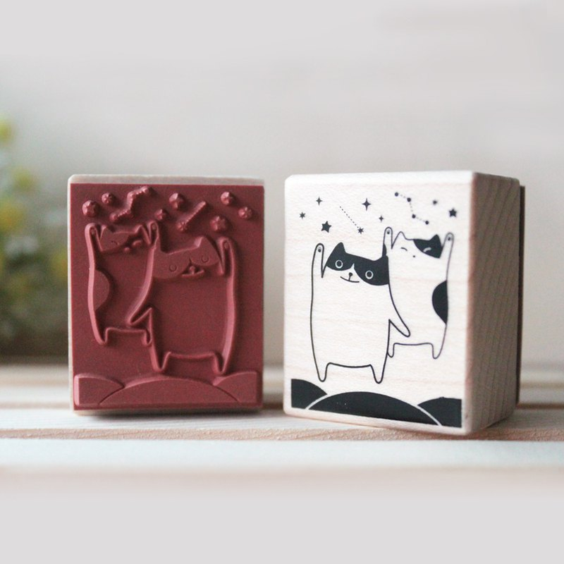 Star Cat Maple Rubber Stamp