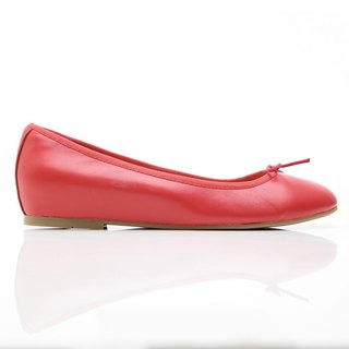 [Saint Landry] LAND classic leather bow ballet shoes - red afterglow