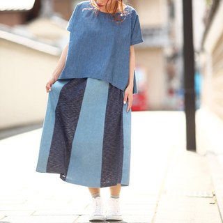 palette denim patchwork striped skirt