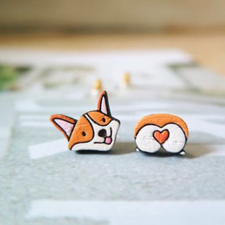 Wooden Earring Welsh Corgi