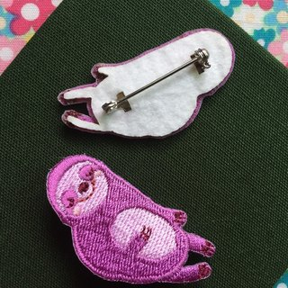 Cloth embroidered pin tree sloth sleepless sloth series (single)