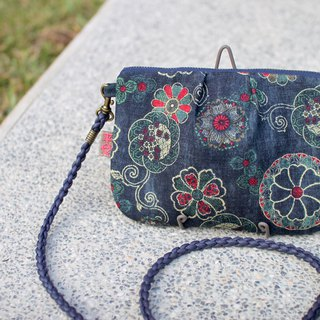 Peace side backpack - retro red and blue flowers, washed pattern, double-sided back