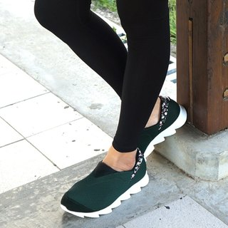 VPEP Walking Shoes/Forest Dark Green, Black Fabric, White/Fit, Long Distance Travel, Leisure Travel, Work