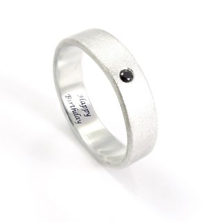 Custom 5mm Textured Diamond Lettering Sterling Silver Ring - Glossy/Fog + 5 Colors Available