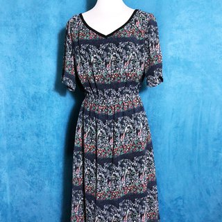 Complex flowers short-sleeved vintage dress / foreign brought back VINTAGE