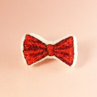 Mini hand embroidery brooch / pin red bow tie