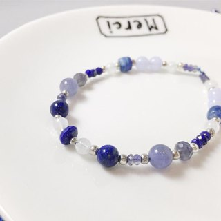 MH sterling silver natural stone custom series _ grape ice hockey _ lapis lazuli