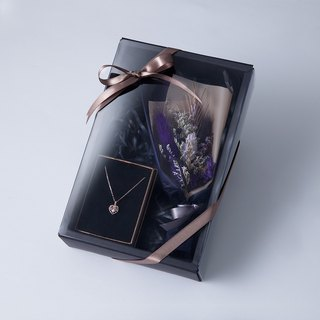 Mystical noble purple small bouquet sterling silver necklace gift box