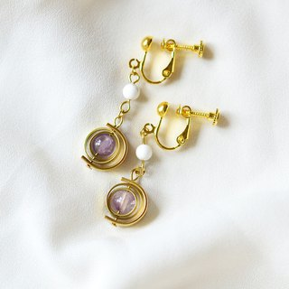 Spinning planet Amethyst with 24k dangle earrings