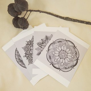 Hand-painted postcard Mandala group / a group of four
