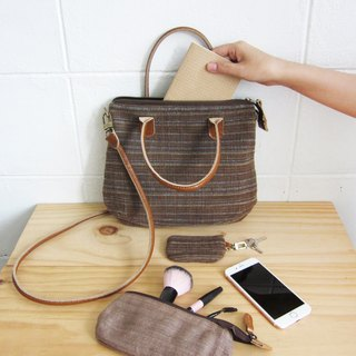 Crossbody Midi Curve Bags Hand Woven and Botanical dyed Cotton Brown-Blue Color