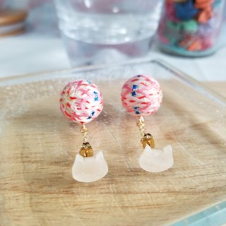 Colorful Line and Small Ball Earrings - Powder (All-handed)