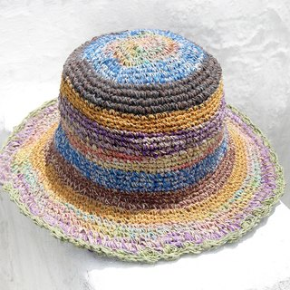 Valentine's Day gift limited handmade knitted cotton hood / weaving hat / fisherman hat / sun hat / straw hat / straw hat - gradient rainbow ice cream cake lace colorful stripes
