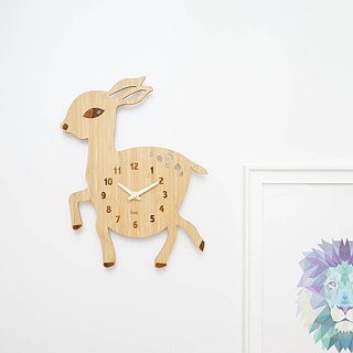 LOO Bamboo Wood Children Kids Animal Wall Clock Deer