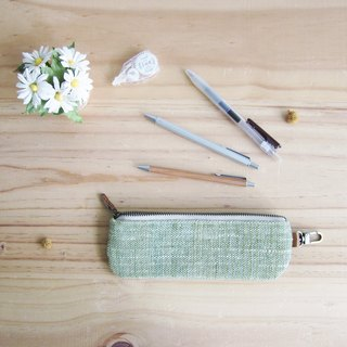 Pencil Cases Hand Woven and Botanical Dyed Cotton Green Color