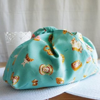 Lovely [Japanese cloth] cute animal and bread puff foldable carry bag, green bag, pink green