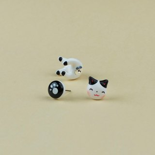 White Maneki Neko Cat Earrings - Lucky Cat Earrings Polymer Clay