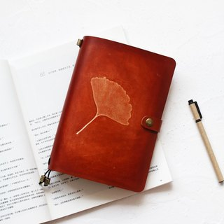 2018 手 如 如 玮 Original a5 Ginkgo biloba hand-stained leather diary TN Travel 22 * ​​15.5cm
