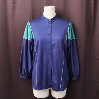 Retro European simple pop style stitching blue long sleeve vintage jacket coat cardigan - special offer