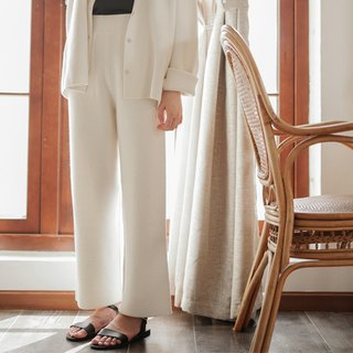 Knitted gentle | milk white pure wool suit wide leg pants texture design straight autumn and winter wide pants trousers