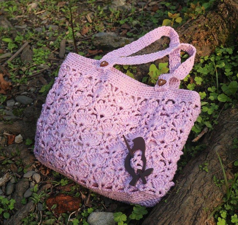 手作-粉紅星星編織包-毛線包/手提包/編織袋