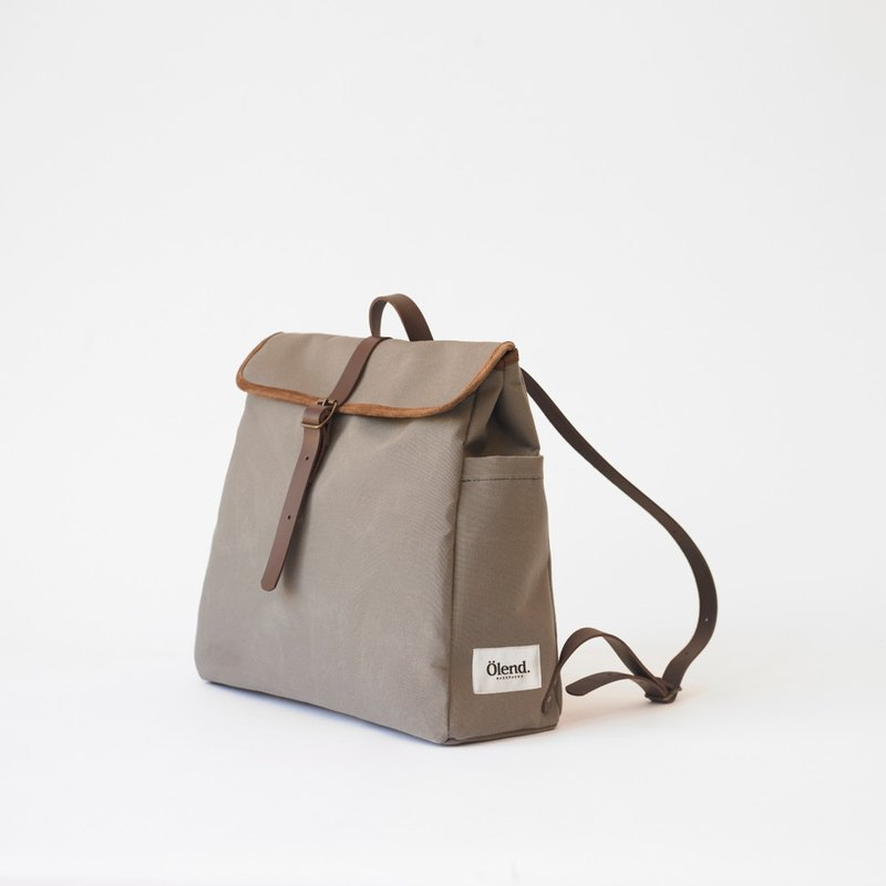 [Spanish handmade] Ölend Tokyo canvas | leather | stitching | drawstring backpack computer bag (Light Brown light brown)