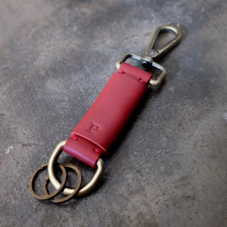 Personalized Initial Leather Keychain / Red