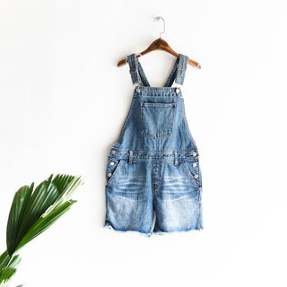 River Hill - youth Mikiko Sentimental love of approximately one-piece denim shorts and suspenders neutral overalls oversize vintage Japanese