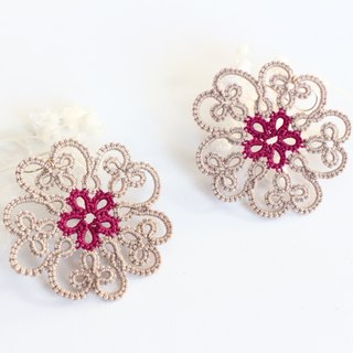 Tatting lace flower pierced earrings beige-14kgf