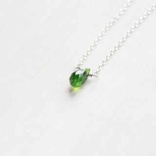 【May 5-birthstone-Diopside】lucky clavicle silver necklace  (adjustable)