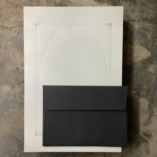 Typographic printing frame letterhead envelope group / gray paper printed silver ink