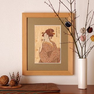 "Tree Rie ""blow Poppen daughter"" made in Japan wooden Ukiyo-e Interior Art cut picture pasted picture"