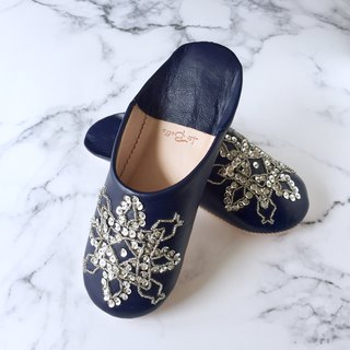 Elegant Babushu Rehana Navy with Hand-stitched Embroidery