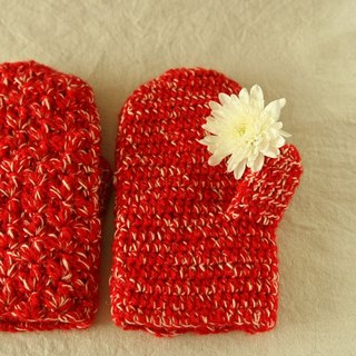 Christmas woolen gloves red and white mixed color crochet Christmas gift Christmas gift exchange