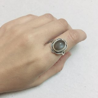 Grey Moonstone Ring Made in Nepal 92.5% Silver
