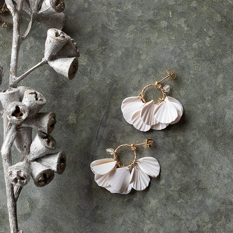 Petal Fringe Earrings /  White
