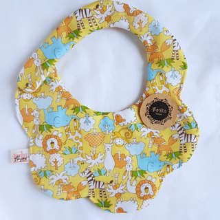 Fun Zoo / yellow / eight layers of yarn 100% cotton with circular arc bib bibs
