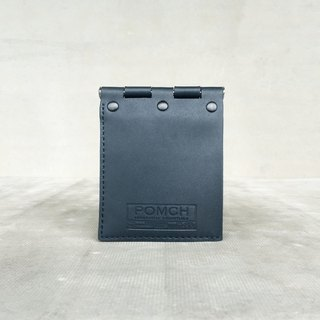 """POMCH"" - HINGE hinge leather short wallet (dark blue)"