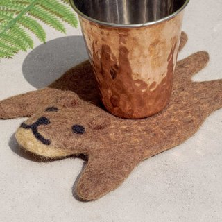 Valentine's Day National Wind Forest Series Wool Felt Coaster Animal Animal Coaster - Brown Bear Drinking Coaster