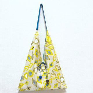 Japanese-style 侧-shaped side backpack / large size / geometric figure yellow - Turkish blue