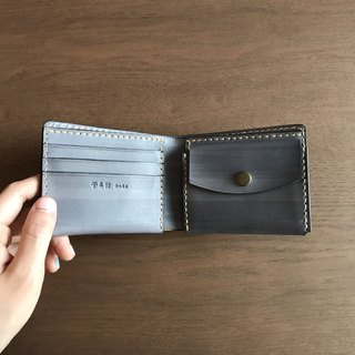 Leather short clip │ handmade wallet │ plant tanned leather │ gray blue