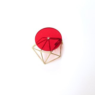 geometry clip-on earring red for one ear