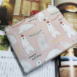 Pink polar bear double zipper wallet card package package bag